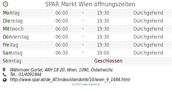 Spar Markt Wien öffnungszeiten Währinger Gürtel Akh 18 20