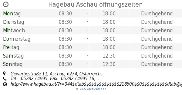 Hagebau Aschau öffnungszeiten, Gewerbestraße 11