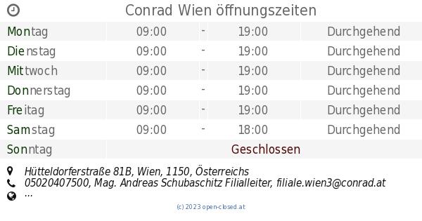 Conrad Wien öffnungszeiten Hütteldorferstraße 81b