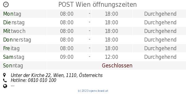 Post Wien öffnungszeiten Unter Der Kirche 22