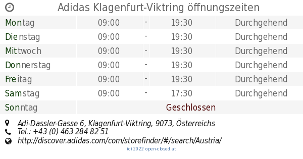 new arrive on sale nice cheap Adidas Klagenfurt-Viktring öffnungszeiten, Adi-Dassler-Gasse 6