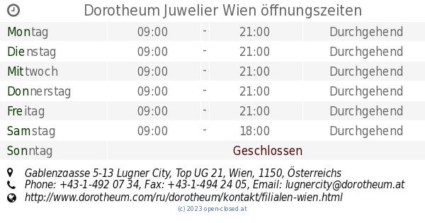 Dorotheum Juwelier Wien öffnungszeiten Gablenzgasse 5 13 Lugner