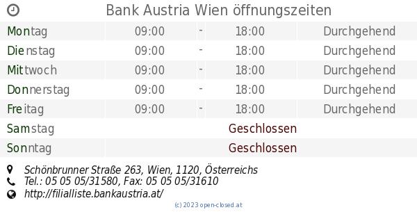 Bank Austria Wien öffnungszeiten Schönbrunner Straße 263