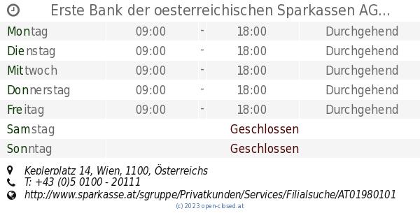 Erste Bank Der Oesterreichischen Sparkassen Ag Wien öffnungszeiten