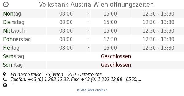Volksbank Austria Wien öffnungszeiten, Brünner Straße 175