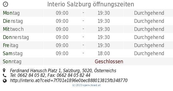 Interio Salzburg öffnungszeiten Ferdinand Hanusch Platz 1