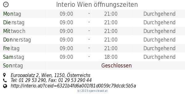 Interio Wien öffnungszeiten Europaplatz 2