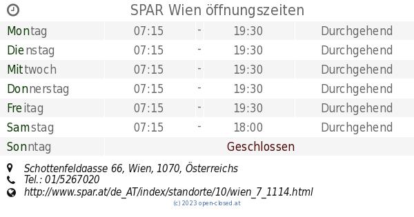 Spar Wien öffnungszeiten Schottenfeldgasse 66