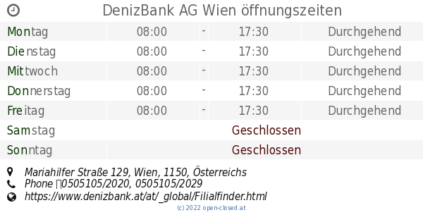 Denizbank Ag Wien öffnungszeiten Mariahilfer Straße 129